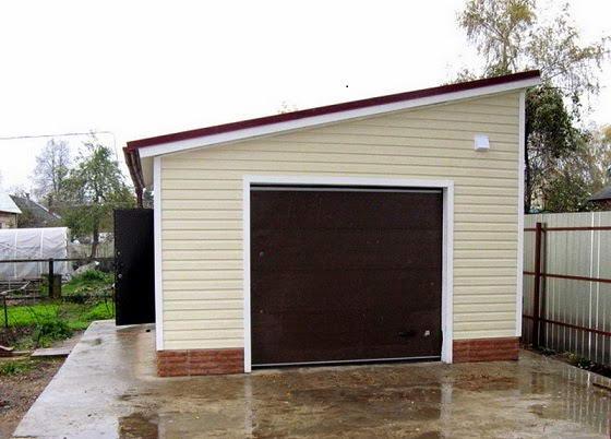 Крыша гаража с односкатной кровлей