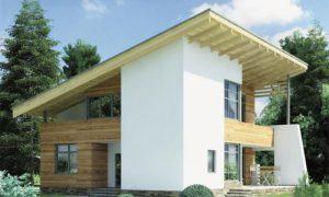 Дом покрытый односкатной крышей