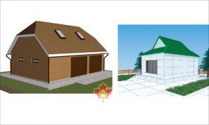 Слева первая разновидность, справа вторая разновидность вальмовой крыши